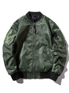 Letter Pockets Windbreaker Bomber Jacket - Camouflage Green 2xl