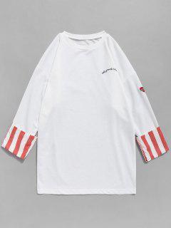 Cuff Striped Patchwork Embroidery Sweatshirt - White Xl