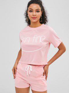 ZAFUL Letter Graphic Tee And Shorts Set - Pink L