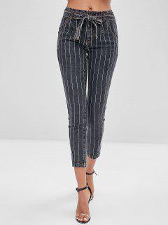 Zipper Fly Striped Belted Jeans - Dark Slate Grey Xl