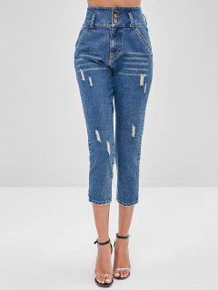 High Waist Ripped Straight Jeans - Silk Blue S