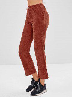 Pantalon Droit Simple En Velours Côtelé - Rouge Cerise M