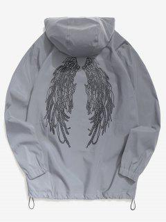 Wings Graphic Reflective Light Jacket - Gray M