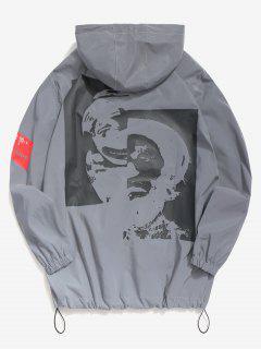 Clown Print Reflective Light Jacket - Gray M