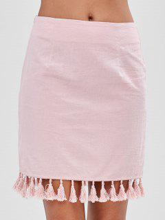 ZAFUL Tassel Fitted Mini Skirt - Pink S
