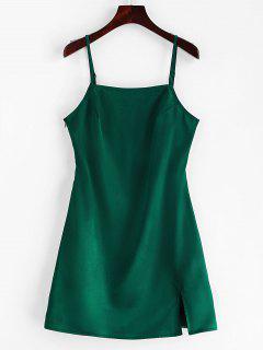 ZAFUL Slit Plain Cami Dress - Green M