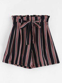 Gestreifte, Hoch Taillierte Shorts Mit Bindegürtel - Multi M