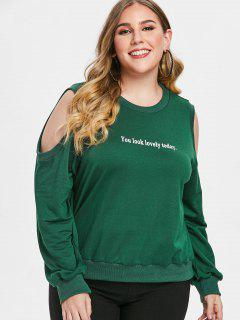 Graphic Plus Size Cold Shoulder Sweatshirt - Green 1x