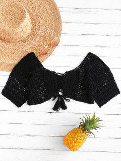 Lace-up Crocheted Top - Black L