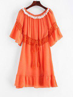 Tassels Crochet Panel Off The Shoulder Dress - Papaya Orange