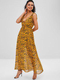 Drawstring Leaf Print Maxi Dress - Yellow Xl