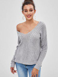 One Shoulder Cable Knit Sweater - Gray