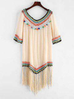 Crochet Panel Tassels Fringed Dress - Blanched Almond