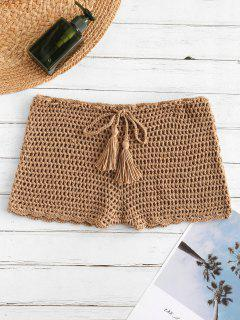 Drawstring Crochet Shorts - Light Khaki S