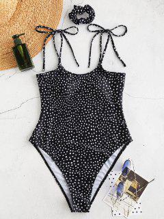 ZAFUL Polka Dot Cami Swimsuit With Hairband - Black M