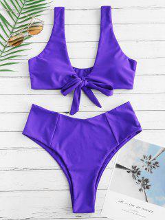 Bowknot High Waisted Bikini Set - Purple Amethyst L