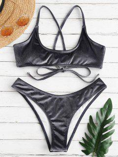 ZAFUL Velvet Criss Cross Bikini Set - Light Slate Gray S