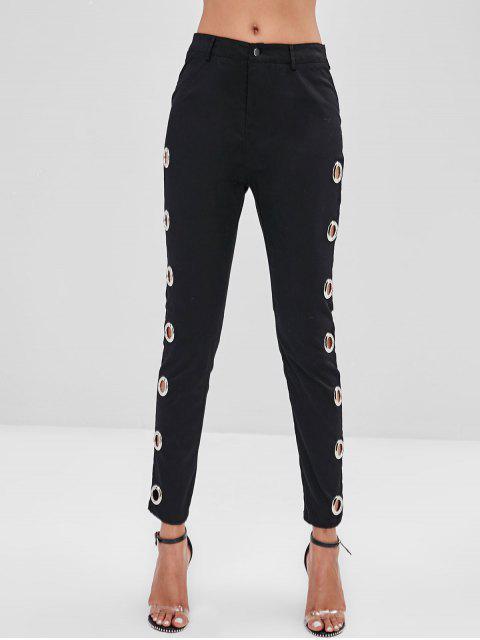 lady ZAFUL Skinny Grommet Pocket Pants - BLACK L Mobile