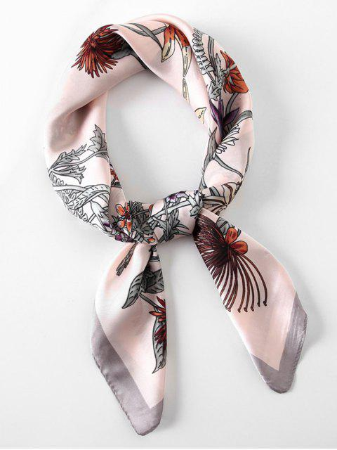 Écharpe en Forme Carrée Motif Floral - Rose   Mobile