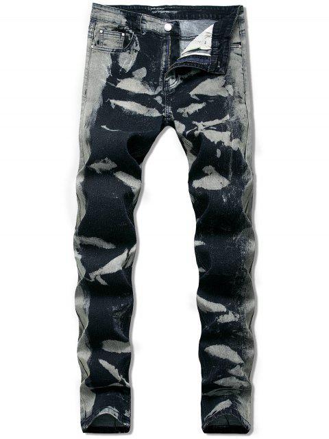 latest Ink Painting Long Straignt Jeans - DARK SLATE GREY 40 Mobile