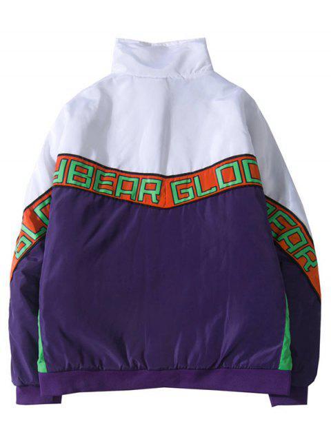 fashion Letters Print Raglan Sleeve Jacket - PURPLE M Mobile