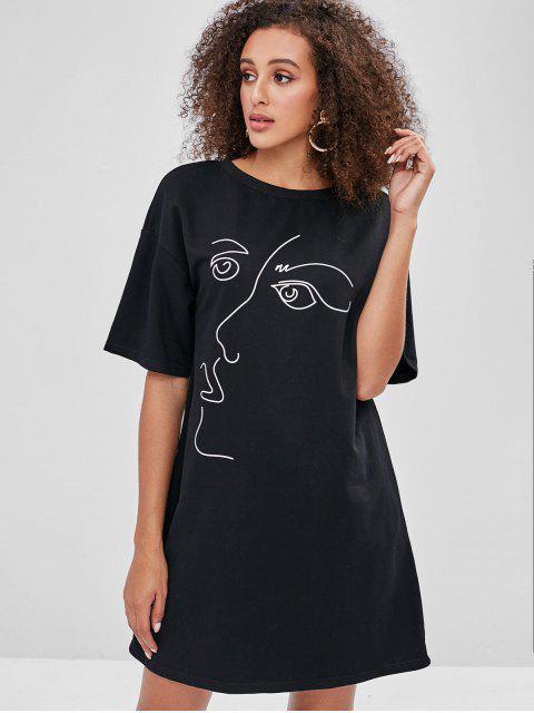 womens ZAFUL Drop Shoulder Print Tee Dress - BLACK L Mobile