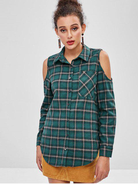 womens ZAFUL Cold Shoulder Plaid Button Up Shirt - DARK GREEN L Mobile