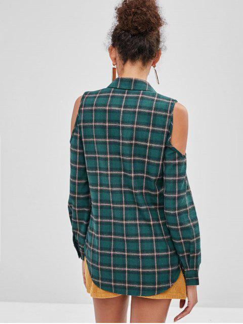 women ZAFUL Cold Shoulder Plaid Button Up Shirt - DARK GREEN XL Mobile