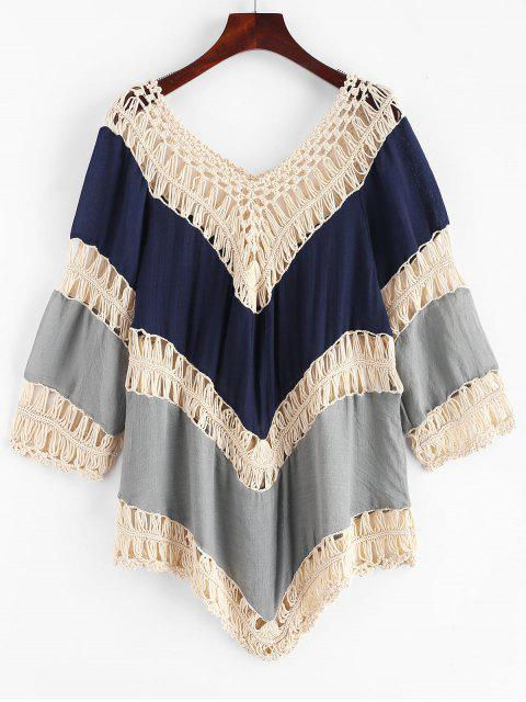 shop Crochet Panel Color Block Cover-up - MULTI-B ONE SIZE Mobile