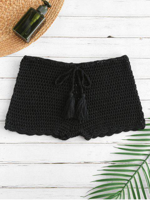womens Drawstring Crochet Shorts - BLACK L Mobile
