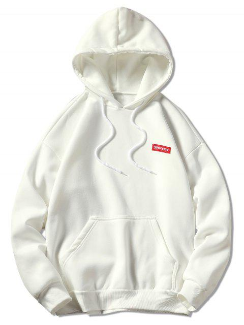 chic Kangaroo Pocket Letter Embroidery Hoodie - WHITE 3XL Mobile