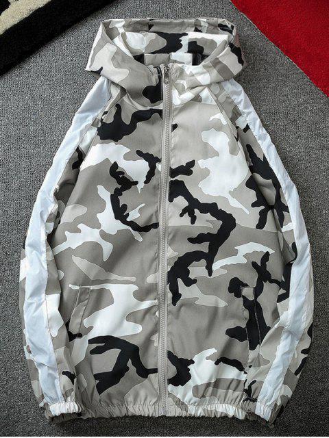 buy Camo Striped Windbreaker Jacket - GRAY 3XL Mobile
