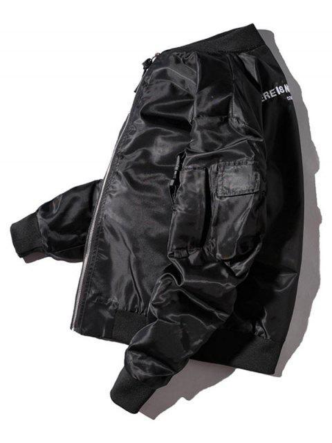 Veste Coupe Vent Lettre avec Poches - Noir 3XL Mobile