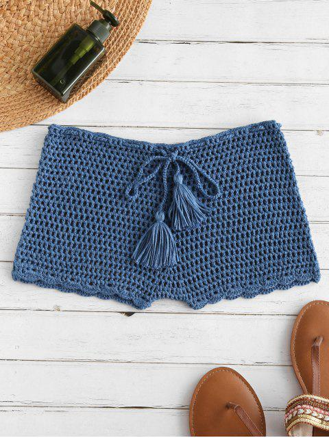 fancy Drawstring Crochet Shorts - SILK BLUE L Mobile