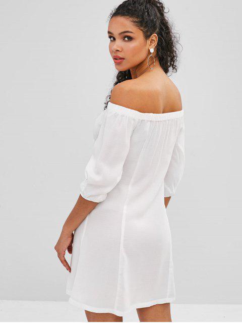 ZAFUL Robe Boutonnée à Epaule Dénudée - Blanc M Mobile