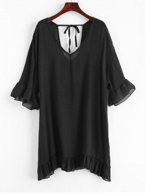 ladies Ruffles Cover-up Dress - BLACK ONE SIZE Mobile