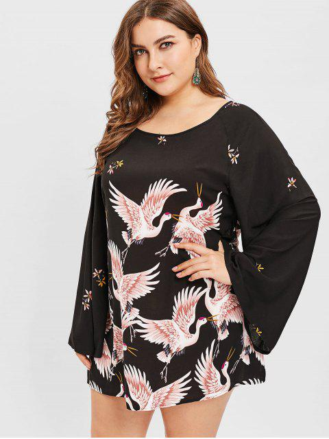 latest ZAFUL Crane Print Plus Size Tunic Dress - BLACK 3X Mobile