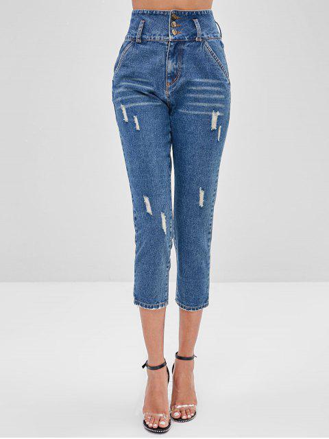 Jeans rectos rasgados de cintura alta - Azul de Seda S Mobile