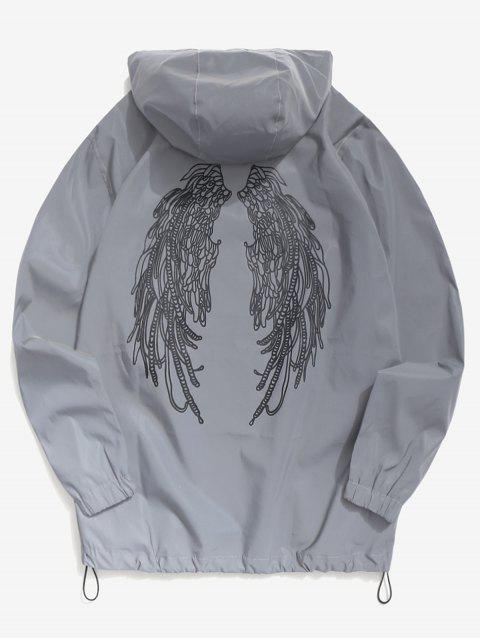 ladies Wings Graphic Reflective Light Jacket - GRAY S Mobile