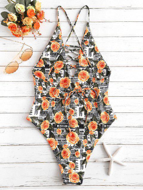 latest ZAFUL Flower Letter Criss Cross Swimsuit - MULTI-A S Mobile