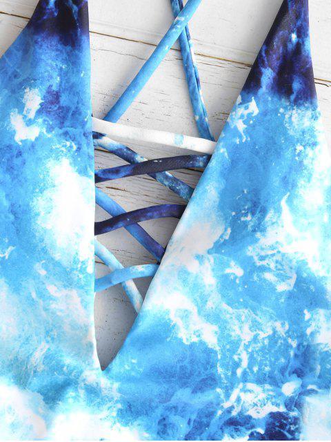 Bañador sin espalda con estampado de ola Criss Cross ZAFUL - Multicolor-A L Mobile