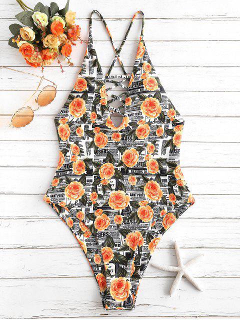 unique ZAFUL Flower Letter Criss Cross Swimsuit - MULTI-A M Mobile