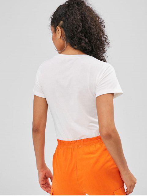 ZAFUL T-shirt Lettre Arc-en-ciel Graphique Imprimée à Manches Courtes - Blanc M Mobile
