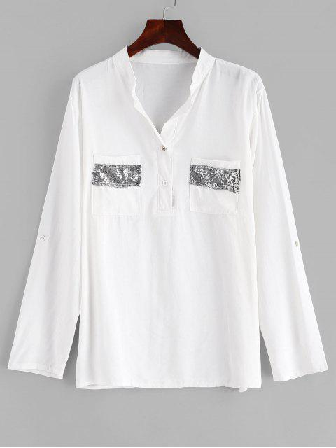 shops Sequined Pocket Buttoned Top - WHITE M Mobile