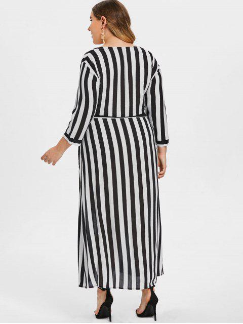 women Striped Tie Plus Size Maxi Dress - WHITE 3X Mobile