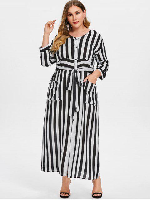 trendy Striped Tie Plus Size Maxi Dress - WHITE 1X Mobile