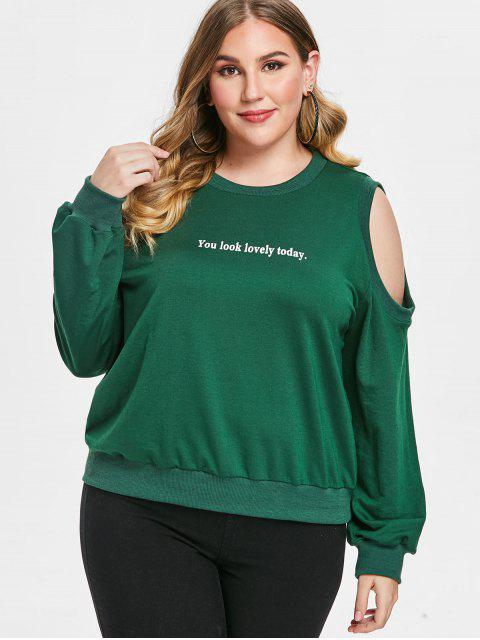 Moletom ombro frio de tamanho grande com impresso gráfico - Verde 1X Mobile