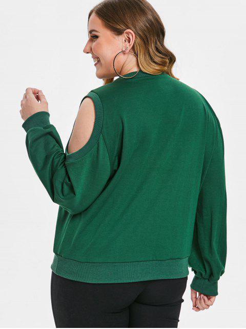 Sweat-shirt Graphique Epaule Dénudée de Grande Taille - Vert 2X Mobile