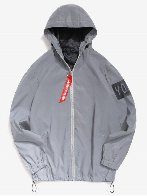 hot Letter Reflective Light Jacket - GRAY M Mobile