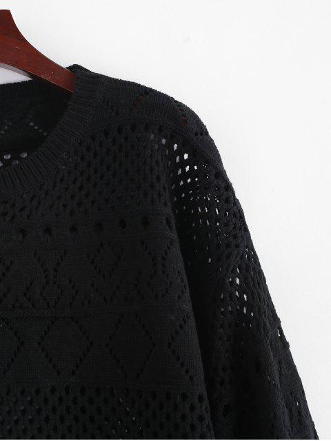affordable Pullover Openwork Pointelle Sweater - BLACK ONE SIZE Mobile